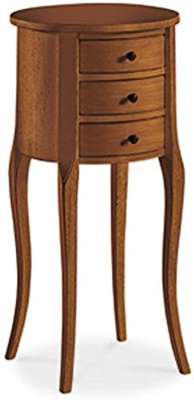 InHouse srls Nachttisch vielzweck, Stil klassisch, aus Massivholz u. MDF, Ausführung Nussbaum Hochglanz - 34 x 34 x 71