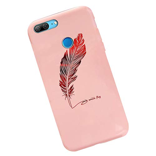 JAWSEU Compatible avec Huawei Honor 9 Lite Coque Silicone TPU Gel Ultra Mince Etui Housse de Protection Placage Plume Motif Slim Souple Flexible Silicone Case Homme Femme Fille,Rose