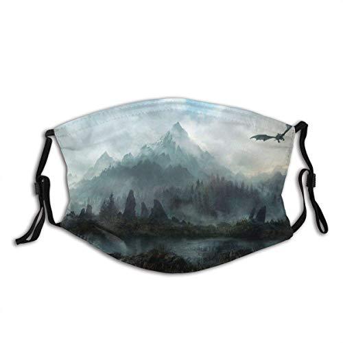 Gesicht Mas-Ke Landschaften_Elder_Scrolls_Skyrim_Fantasy_Dragons_Flight_Mountains_Sky_Clouds Sturmhaube Mund Bandanas