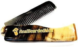 Real Bearded Men Ox Horn Beard Comb - Natural Bone Beard and Mustache Comb