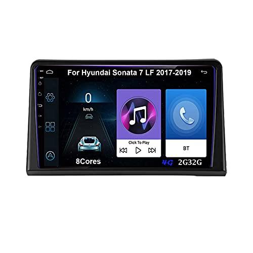 Autoradio Android Car Radio Stereo 9 Pulgadas Pantalla Táctil Para Hyundai Sonata 7 LF 2017-2019 Conecta Y Reproduce Cámara De Respaldo Estéreo De Coche Auto Dvd Player (Color : 8Cores 4G 2G32G)