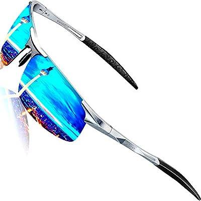 SIPLION Men's Driving Polarized Sport Sunglasses Al-Mg Metal Frame Ultra Light 8177 Silver+blue