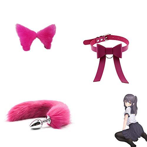 Juego de Roles Fox Tail B-ü-t-t P-l-ǔ-g + Clip para la Cabeza con Orejas de Felpa + Gargantilla con Lazo para él y para Ella (Rosa roja)