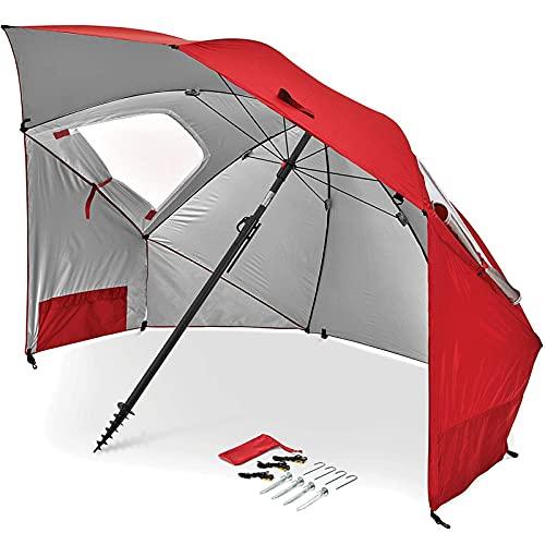 Paraguas portátil para Deportes y Playa, Paraguas con protección Solar UPF 50+, Refugio con Kit de fijación para Eventos Deportivos y de Playa (Rojo)