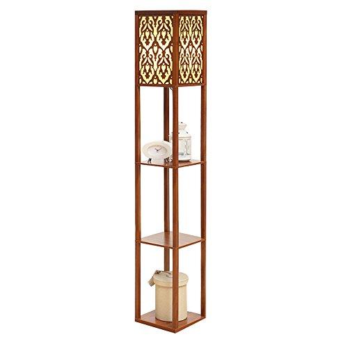Style chinois rétro sculpté lampadaire salon chambre lampe de chevet