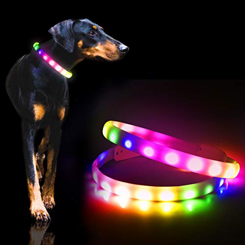 GS GLOWSEEN Led Dog Collar - USB Rechargeable Lighted Dog Collar - 2020 Newest Color Changing Light Up Dog Collars, Glow in The Dark Dog Collars for Night Walking, Fit for Small/Medium/Large Dog.