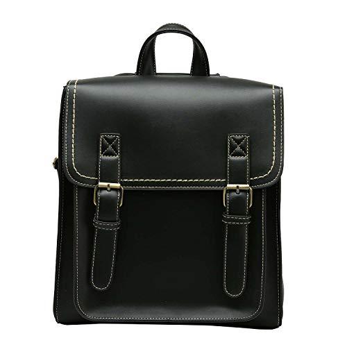 Neuleben Umwandelbar Rucksack Umhängetasche Rucksacktasche Damen Mädchen Damenrucksack Vintage Klein Damentasche aus PU Leder Rucksäcke Tasche (Schwarz)