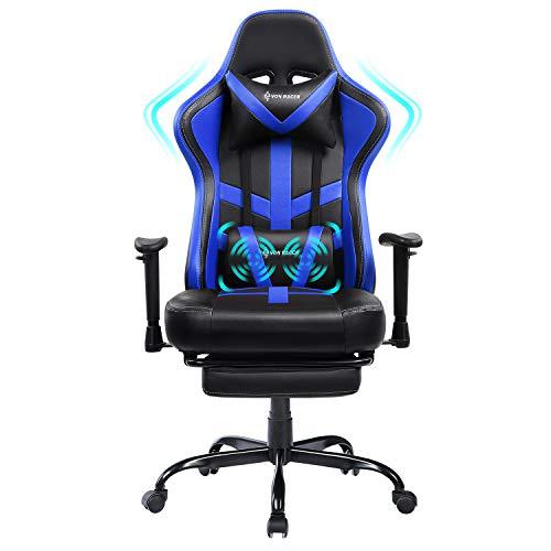 VON RACER Gaming Stuhl - Ergonomischer Chefsessel aus Leder mit Fußstütze und verstellbaren Armlehnen (Blue-01)