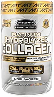 MuscleTech Platinum 100 percent Hydrolyzed Collagen, Collagen Peptides, Unflavored, 1.52 Lbs(692 Grams) 62 Servings