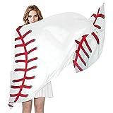 QMIN - Bufanda deportiva de seda, diseño de pelota de béisbol, diseño de encaje de moda, larga, ligera, para mujer, niña y mujer