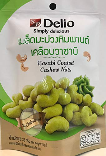 Delio Crispy Cashew Nuts Wasabi Coated Cashew Nuts 33g X 4 Packs