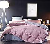 Omelas Pink Gray Duvet Cover Set King Size Dusty Rose Modern Minimalist Style Solid Color Bedding Sets Reversible Light Grey Soft Microfiber Quilt Covers for Men Women,No Comforter