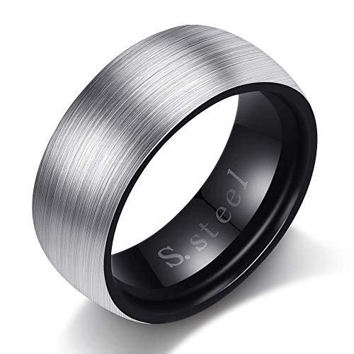 fangfaner Fashion Armband Geborsteld Titanium Staal Paar Ring Lettering RVS Ring-Black_No.9