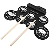 Portable electronic digital roll-up drum silicone electric drum with drum sticks and maintenance pedals