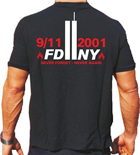 feuer1 'T-Shirt 2001 – Pompiers 2011 Never Forget Never Again – New York XL Noir