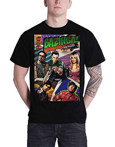 Offizielles Lizenzprodukt TBBT Big Bang Theory - Bazinga Comic Cover T-Shirt (Schwarz), Medium