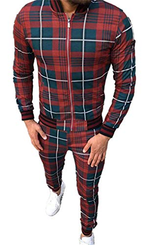 HUSHION Traje De Tela Escocesa De Deportes Ocasionales para Hombre, Chaqueta Y Pantalones con Cremallera Swearstsuit Set Sports 2 Pieza 01-XXXL