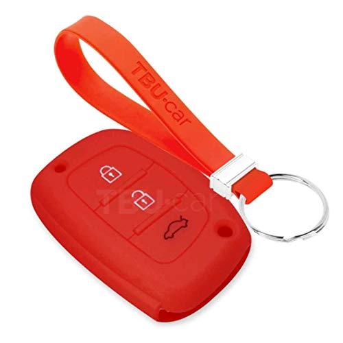 TBU car Funda Carcasa Llave Compatible con Hyundai - Funda de Silicona - Cover de Llave Coche - Rojo