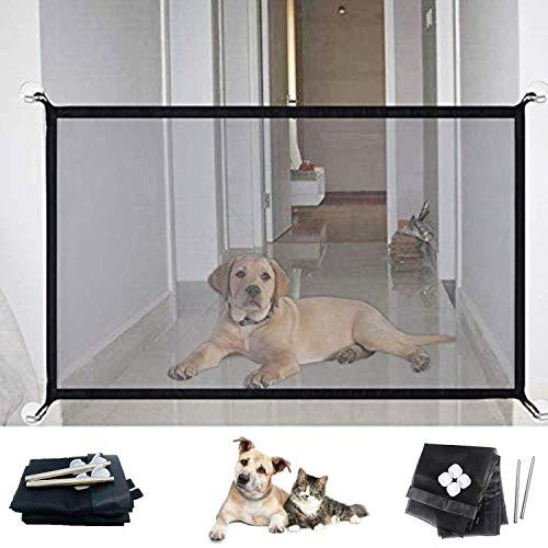 FURIENIDE Hundebarrieren, Tragbar Hunde Türschutzgitter, Magic Gate Faltbar Hunde Türschutzgitter Tür- & Treppengitter für Babys, Hunde & Katzen 180cm x 72cm