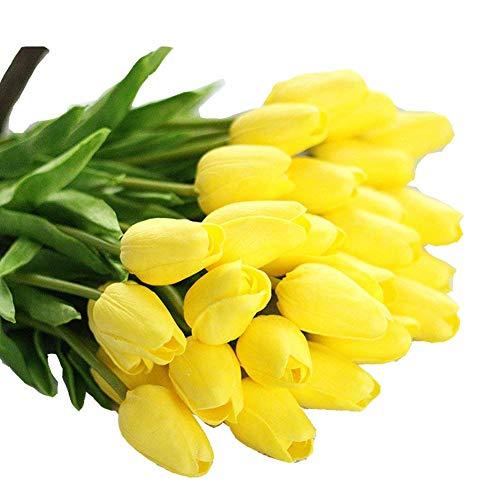 Sunshine D 10 Stück Künstliche Tulpen, Künstliche Deko Blumen Latex Real Touch Tulpen mit Blätter Unechte Kunstblume für Zeremonie Party Hochzeit Home Office Wohnzimmer - Gelb