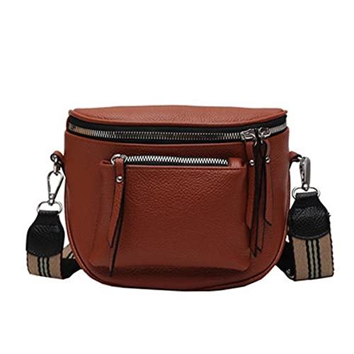 YICHENHAOYUAN Schultertasche Damen 2021 Retro Breitband Taschen Taschen für Frauen Fanny Pack Crossbody Bag Doppel Reißverschluss Damen Gürtel Brust PU. Leder-Mini-weiche Schulter