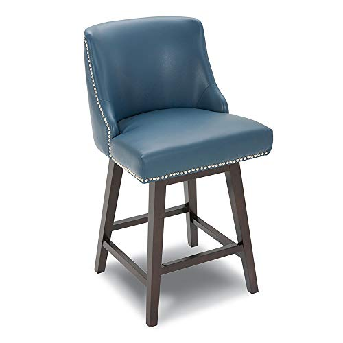 CHITA Counter Height Swivel Barstool, Upholstered Faux Leather Stool, 26' H Seat Height, Dark Blue