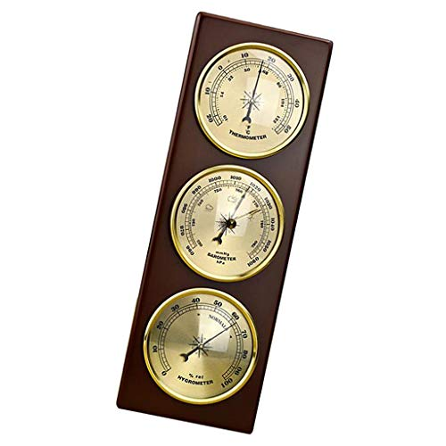Almencla Wall Barometer Thermometer Hygrometer Weather Station Hanging Home/Office Metal Material
