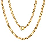 Men Women Luxury Filled Curb Cuban Link Gold Necklace Jewelry Chain 3mm 18 inch Choker