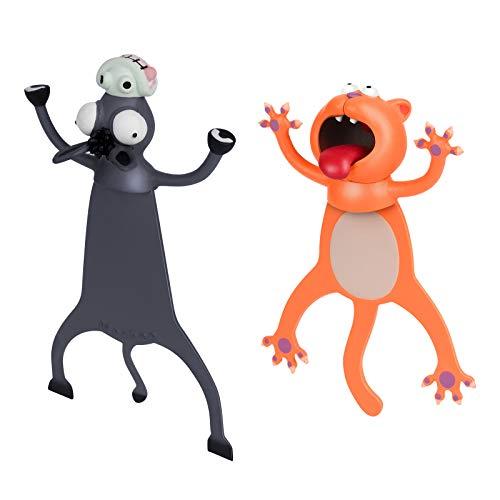 ThinkTex Segnalibro,Animale Segnalibro/Simpatici segni di Libro,3D Cartone Divertente Animato Animali Segnalibri, Materiale PVC Divertente Cancelleria per Bambini a Scuola o Regalo per Studenti