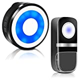 Wireless Doorbell HYCTOPSON Waterproof Door Bell Chime Kit Ringer Button LED Flash Doorbells Operating at 1000 Feet with 58 Melodies 5 Volume Levels for Business When Entering