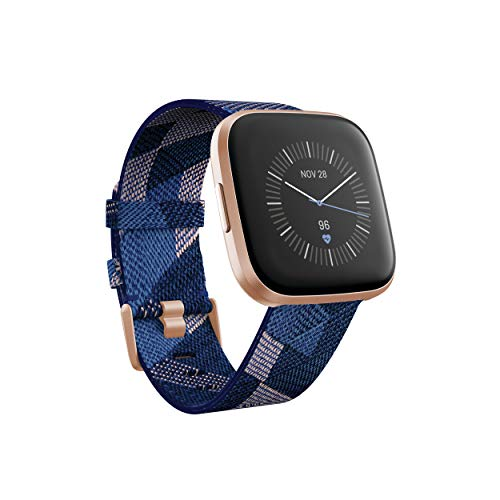 Fitbit FB507RGNV Versa 2 Special Edition Health & Fitness Smartwatch, Heart Rate, Music, Alexa Built-in, Sleep & Swim Tracking, Navy & Pink Woven, One Size (S & L Bands Included) (Navy & Pink Woven)