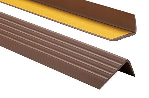 Profilo per bordi scale - Profilo angolare in PVC autoadesivo 41mm x 25mm, Paraspigolo - Strisce antiscivolo per gradini, 200cm, Marrone