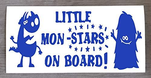 Sticker Monster on Board Little Mon - Star on Board - Sticker amusant Baby on Board - 9 cm x 20 cm - HSS012, Vinyle, bleu marine, Two Mon-Stars