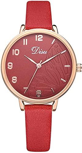 JZDH Mano Reloj Relojes de Mujer Relojes de Pulsera Reloj de aleación de Mujeres de Moda Cinturón Artificial Reloj de Cuarzo de Ocio Ladies Regalo Rojo Relojes Decorativos Casuales