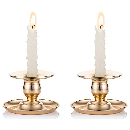 Nuptio Metall Chamberstick 2 Stück Gold Messing Kerzenhalter Passt Taper, Kerzenhalter, Teelichter und Stumpenkerzen für Fenster Und Mantel Display, Kerzenhalter Stabkerze für Weihnachten Deko