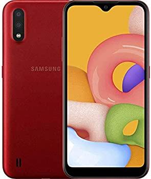 "Samsung Galaxy A01  A015M  16GB Dual SIM GSM Unlocked 5.7"" Display Smartphone - International Version - Red"