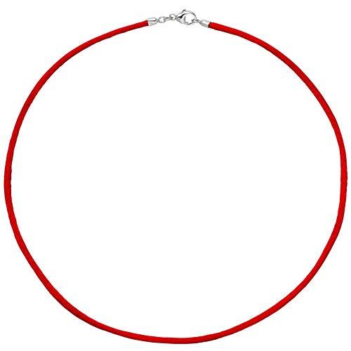 JOBO Damen-Seiden-Halskette rot 42 cm 2,8 mm