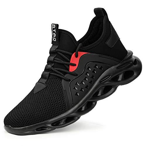 Zapatoes de Seguridad Hombre Zapatos de Trabajo Zapatillas con Punta de Acero Cómodos Ligeros y Transpirables(Negro 13, 46)