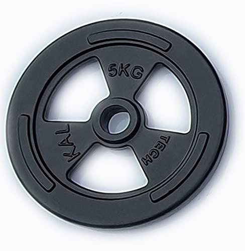 Yate MELAN Hantelscheiben Guss mit Griffmulde 5kg 10kg 20kg aus Gusseisen Bohrung 30,5mm mit Eingriffen und Tri-Grip-Design extrem robust (1 x 5kg)
