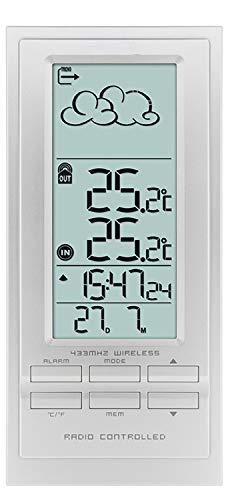 Krippl-Watches Digitale Funkwetterstation/Funkuhr mit Wecker, Temperatur/Farbe:Silber