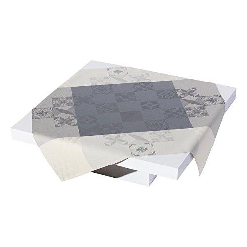 Le Jacquard Francais Nappe Demeure Motif Ville Coton Ciment Rectangulaire 175 x 320 cm