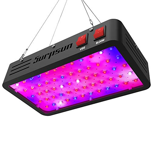 LED Grow Light, Surpsun Full Spectrum 600W Grow Lights with Veg and Bloom Double Switch, Dual Chips...