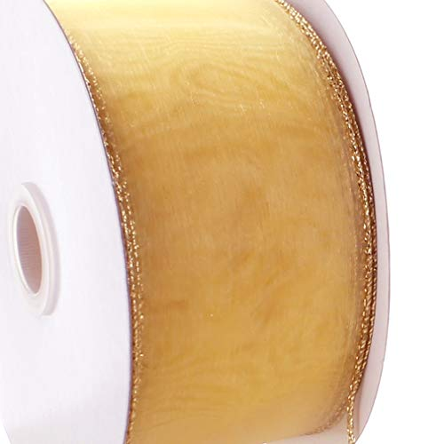 Ribbon Traditions 1.5' Wired Sheer Organza Ribbon 670 Light Gold 50 Yards