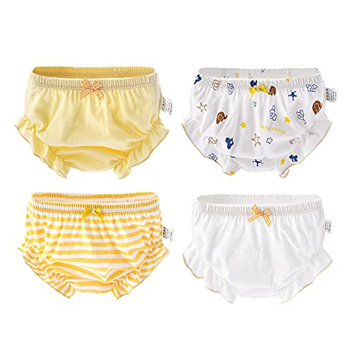 Orinery 100% Cotton Girls Bloomers Underwear Infant Baby Briefs Toddler Ruffle Assorted Underwear 4-Pack (1-2T, Color A)