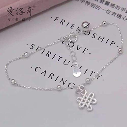 THTHT S Modieuze armband van 925 sterling zilver voor dames, eenvoudige bel, Chinese knopen retro, temperament, sieraden, creatief, lief persoonlijkheid, verjaardagscadeau