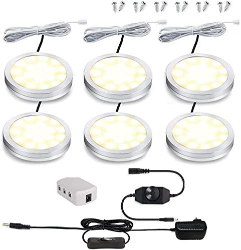 Cefrank Juego 6 luces LED regulables para debajo del gabinete, con regulador intensidad giratorio, 12W, luz LED para encimera o debajo la cocina, estantería, exhibición, vitrina (Blanco cálido 3000K)