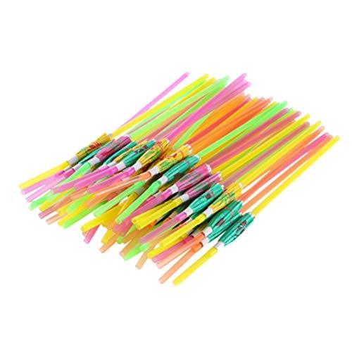 TOYANDONA 200 Pz Cannucce USA E Getta Fluorescente Design Ombrello per Spiaggia a Tema Isola a Tema Festa (Colore Misto)