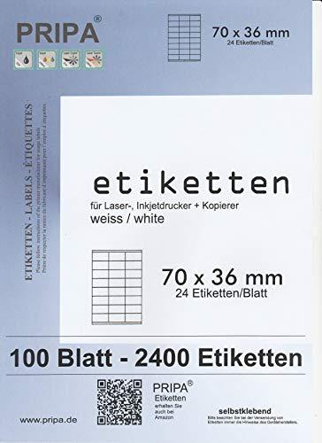 pripa Etikettenformat 70 x 36 mm 100 Blatt DIN A4 Selbstklebende Etiketten