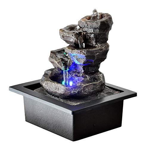 Zen\'Light Galou Zimmerbrunnen, Kunstharz, Grau, 21 x 17 x 23 cm