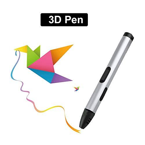 Stylo d'impression 3D, stylo graffiti 3D à basse température pour enfants, jouets créatifs pour impression uniquement pour les fournitures respectueuses de l'environnement de PCL avec écran OLED,Gray